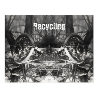 Recycling bicycle art postcard