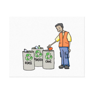 Recycling Bins Stretched Canvas Print