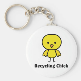 Recycling Chick Basic Round Button Keychain