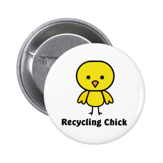 Recycling Chick Pinback Buttons