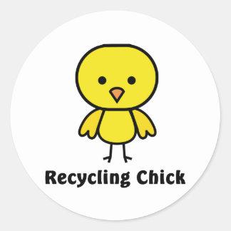 Recycling Chick Classic Round Sticker