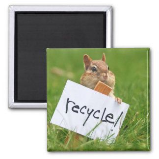 recycling chipmunk magnet