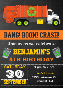 Garbage truck invitations announcements zazzle recycling garbage truck birthday party invitation filmwisefo Image collections