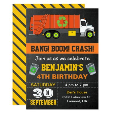 Recycling garbage truck theme boys birthday party card zazzle filmwisefo Image collections