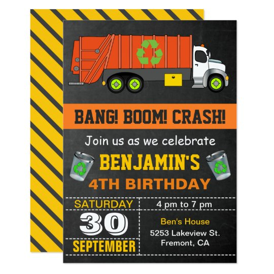 Recycling Garbage Truck Birthday Party Invitation Zazzle