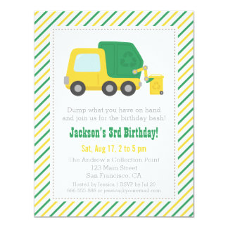 Recycling Garbage Truck Theme Boys Birthday Party 4.25x5.5 Paper Invitation Card