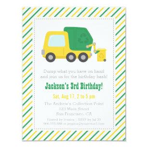 Garbage truck invitations zazzle recycling garbage truck theme boys birthday party invitation filmwisefo