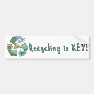 Recycling is Key Earth Day Gear Bumper Sticker