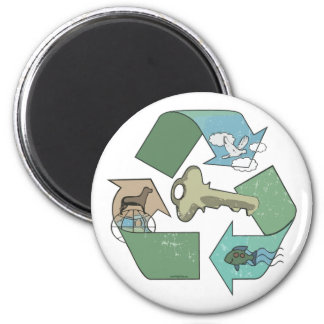 Recycling is Key Earth Day Gear Magnet