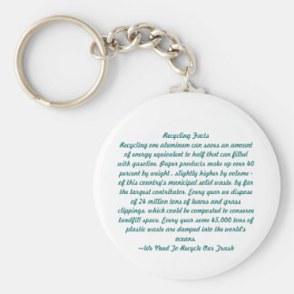Recycling Basic Round Button Keychain