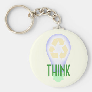 Recycling Light Bulb Basic Round Button Keychain