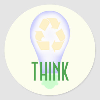 Recycling Light Bulb Classic Round Sticker