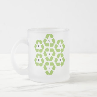 Recycling logos frosted glass coffee mug