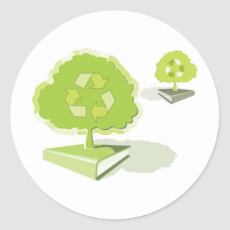 Recycling paper! Save trees! Classic Round Sticker