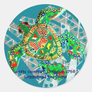 Recycling Sea Turtle Classic Round Sticker