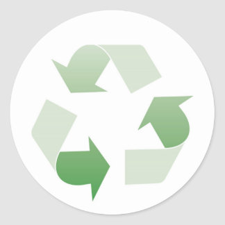 Recycling sign classic round sticker