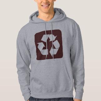 Recycling Sign - Dark Brown Hoodie