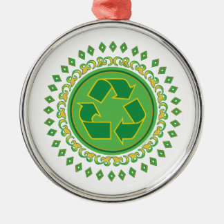 Recycling Sign Medallion Round Metal Christmas Ornament