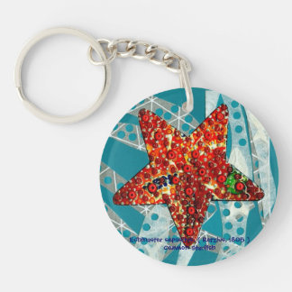 Recycling Starfish Double-Sided Round Acrylic Keychain