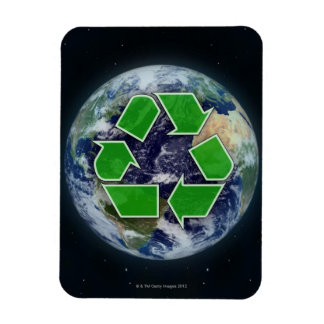 Recycling symbol and planet earth magnet