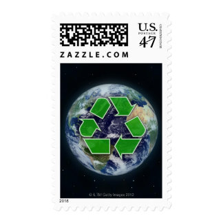 Recycling symbol and planet earth postage