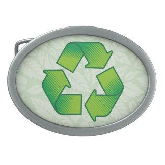 Recycling symbol belt buckle