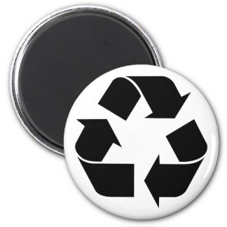 Recycling Symbol - Black 2 Inch Round Magnet