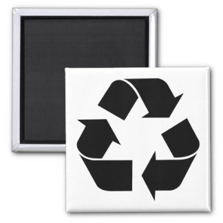 Recycling Symbol - Black 2 Inch Square Magnet