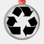 Recycling Symbol - Black Christmas Ornament