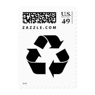 Recycling Symbol - Black Postage Stamp