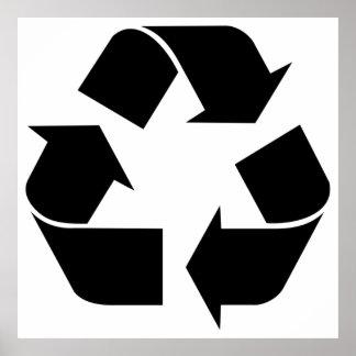 Recycling Symbol - Black Poster