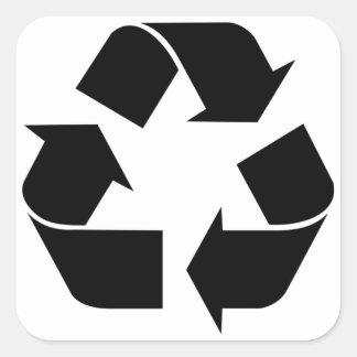 Recycling Symbol - Black Square Sticker