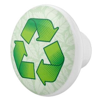 Recycling symbol ceramic knob