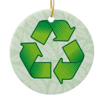Recycling symbol ceramic ornament