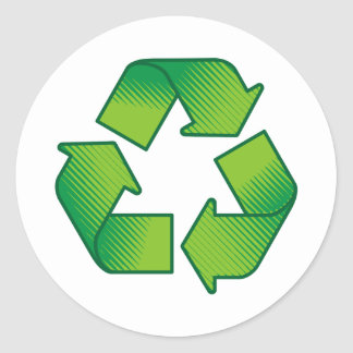 Recycling symbol classic round sticker