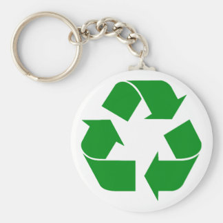 Recycling Symbol - Green Basic Round Button Keychain