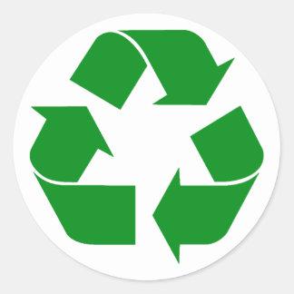 Recycling Symbol - Green Classic Round Sticker