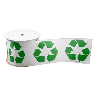 Recycling Symbol - Green Satin Ribbon