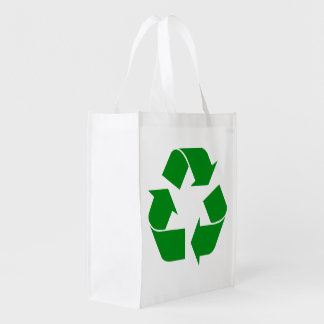 Recycling Symbol - Green Reusable Grocery Bags