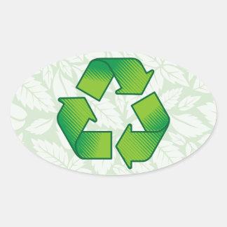 Recycling symbol oval sticker