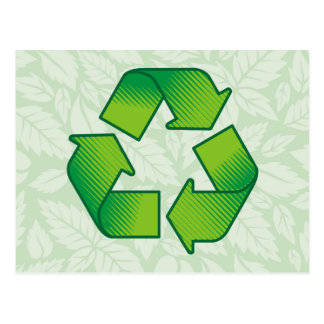 Recycling symbol postcard