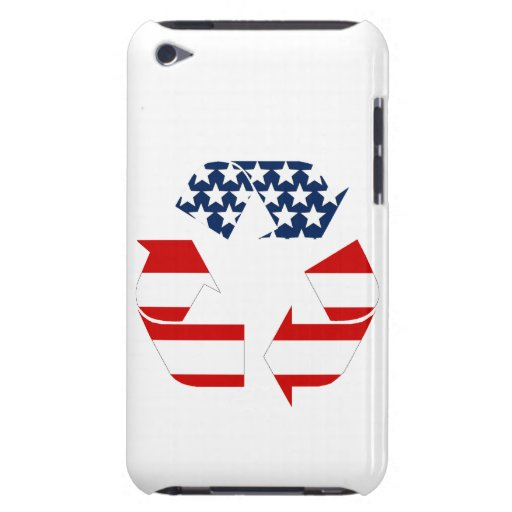 Recycling Symbol - Red White & Blue Barely There iPod Cases