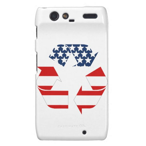 Recycling Symbol - Red White & Blue Droid RAZR Covers