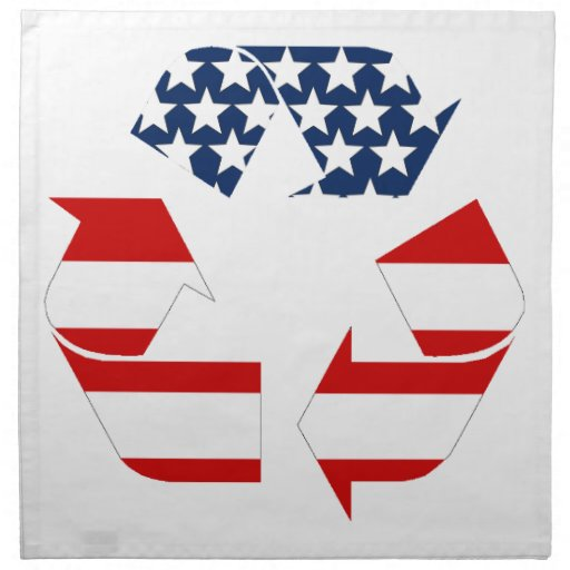 Recycling Symbol - Red White & Blue Cloth Napkins