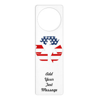Recycling Symbol - Red White & Blue Door Hanger