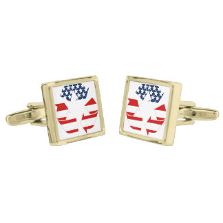 Recycling Symbol - Red White & Blue Gold Finish Cufflinks