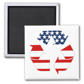 Recycling Symbol - Red White & Blue 2 Inch Square Magnet