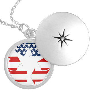 Recycling Symbol - Red White & Blue Custom Necklace