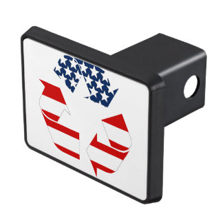 Recycling Symbol - Red White & Blue Trailer Hitch Covers