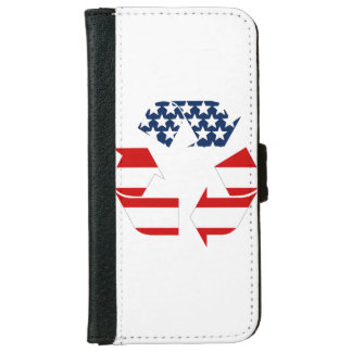 Recycling Symbol - Red White & Blue iPhone 6 Wallet Case